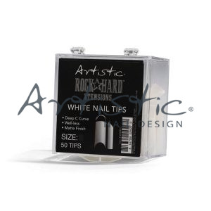 Artistic-white-nail-tips-rock-hard-extensions
